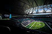Tottenham Stadium all set up for the first time for the NFL and the NFL Academy try outs during the NFL Media Day held at Tottenham Hotspur Stadium, London, United Kingdom on 2 July 2019.