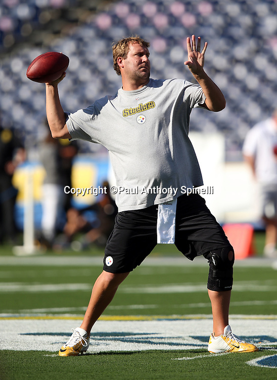 Pittsburgh Steelers quarterback Ben Roethlisberger (7) throws a pass before the 2015 NFL week 5 regular season football game against the San Diego Chargers on Monday, Oct. 12, 2015 in San Diego. The Steelers won the game 24-20. (©Paul Anthony Spinelli)