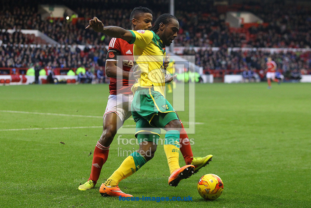Michael Mancienne of Nottingham Forest and Cameron Jerome of Norwich in action during the Sky Bet Championship match at the City Ground, Nottingham<br /> Picture by Paul Chesterton/Focus Images Ltd +44 7904 640267<br /> 08/11/2014