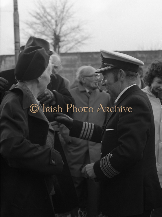 """The """"Asgard """" at Kilmainham Jail..1979..01.04.1979..04.01.1979..1st April 1979..The historic yacht """"Asgard"""" owned by Erskine Childers was brought to Kilmainham Jail,Dublin. The vessel had to be hoisted ,by crane,over the outer wall of the jail. It was placed as part of a future exhibition to be set up by The National Museum."""