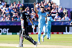 Mark Wood of England celebrates taking the wicket of Matt Henry of New Zealand - Mandatory by-line: Robbie Stephenson/JMP - 03/07/2019 - CRICKET - Emirates Riverside - Chester-le-Street, England - England v New Zealand - ICC Cricket World Cup 2019 - Group Stage