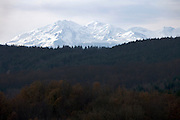 the snow capped mountains of the Pyrenees seen from France Aude Razes