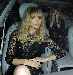 Models Suki Waterhouse and Cara Delevingne leaving the Claridges hotel in Mayfair, London, UK. 15/09/2014<br /> BYLINE MUST READ : GOTCHAIMAGES.COM<br /> <br /> Copyright by © Gotcha Images Ltd. All rights reserved.<br /> Usage of this image is conditional upon the acceptance <br /> of Gotcha Images Ltd, terms and conditions available at<br /> www.gotchaimages.com