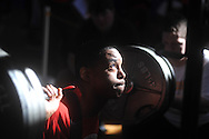 Lafayette High weigtlifter Jamel Dennis competes in a high school weightlifting contest at Oxford Middle School in Oxford, Miss. on Saturday, January 29, 2011.