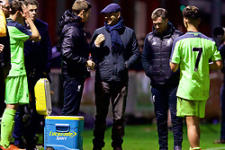 ALTRINGHAM, ENGLAND - Friday, March 10, 2017: Liverpool's academy coach Steven Gerrard with Rob Jones after a 2-2 draw with Manchester United during an Under-18 FA Premier League Merit Group A match at Moss Lane. (Pic by David Rawcliffe/Propaganda)