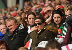 Anxious Mayo supporters look on during the closing stages of the Connacht championship clash against Galway.<br />