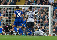 Football - 2016 / 2017 Premier League - Tottenham Hotspur vs. Leicester City<br /> <br /> Vincent Janssen of Tottenham sees his shot go just wide of the post at White Hart Lane.<br /> <br /> COLORSPORT/DANIEL BEARHAM