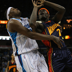 Dec , 2009; New Orleans, LA, USA; The ball comes loose as New Orleans Hornets forward James Posey (41) collides with Golden State Warriors guard Anthony Morrow (22) during the fourth quarter at the New Orleans Arena. Mandatory Credit: Derick E. Hingle-US PRESSWIRE