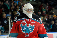 KELOWNA, CANADA, OCTOBER 26:  Adam Brown #1 of the Kelownan  Rockets skates on the ice as the Prince George Cougars visit the Kelowna Rockets on October 26, 2011 at Prospera Place in Kelowna, British Columbia, Canada (Photo by Marissa Baecker/Shoot the Breeze) *** Local Caption ***Adam Brown;