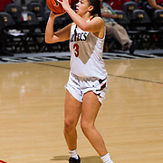 09 November 2018: San Diego State Aztecs guard Mallory Adams (3) takes an uncontested three point shot in the second quarter against Hawaii. The Aztecs opened up it's regular season schedule with a 58-57 win over Hawaii Friday at Viejas Arena.