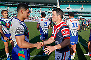 Roger Tuivasa-Sheck and Cooper Cronk shake hands after the final whistle. Sydney Roosters v Vodafone Warriors. NRL Rugby League. Sydney Cricket Ground, Sydney, Australia. 18th August 2019. Copyright Photo: David Neilson / www.photosport.nz