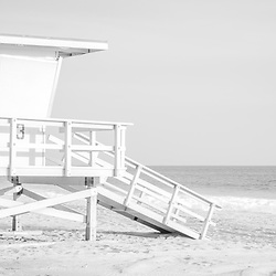 Zuma Beach lifeguard tower #3 black and white panorama photo in Malibu California. Malibu is a coastal beach city in Southern California in the United States of America. Panoramic photo ratio is 1:3. Copyright ⓒ 2015 Paul Velgos with All Rights Reserved.