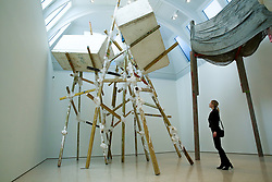 © Licensed to London News Pictures. 01/01/2019. London, UK. A woman views Phyllida Barlow's artwork at Royal Academy of Arts. British artist Phyllida Barlow transforms the Royal Academy's Gabrielle Jungels-Winkler Galleries with an exhibition of entirely new work, entitled cul-de-sac. The exhibition has been conceived as a sequential installation running across all three of the interconnected spaces. The exhibition is open to the public from 23 February until 23 June 2019. Photo credit: Dinendra Haria/LNP