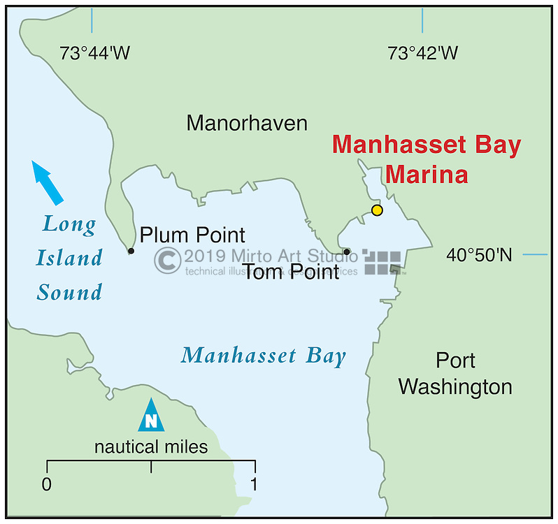 Vector map of Manhasset Bay, New York marina