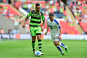 Forest Green Rovers Keanu Marsh-Brown(7) and Tranmere Rovers Adam Buxton(22) during the Vanarama National League Play Off Final match between Tranmere Rovers and Forest Green Rovers at Wembley Stadium, London, England on 14 May 2017. Photo by Adam Rivers.