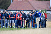 Stewart Hagestad (USA) plays the second shot to the first hole during the Saturday morning Foursomes in the Walker Cup at the Royal Liverpool Golf Club, Saturday, Sept 7, 2019, in Hoylake, United Kingdom. (Steve Flynn/Image of Sport)