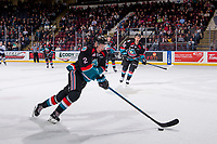 KELOWNA, CANADA - OCTOBER 5:  Lassi Thomson #2 of the Kelowna Rockets skates with the puck against the Victoria Royals on October 5, 2018 at Prospera Place in Kelowna, British Columbia, Canada.  (Photo by Marissa Baecker/Shoot the Breeze)  *** Local Caption ***