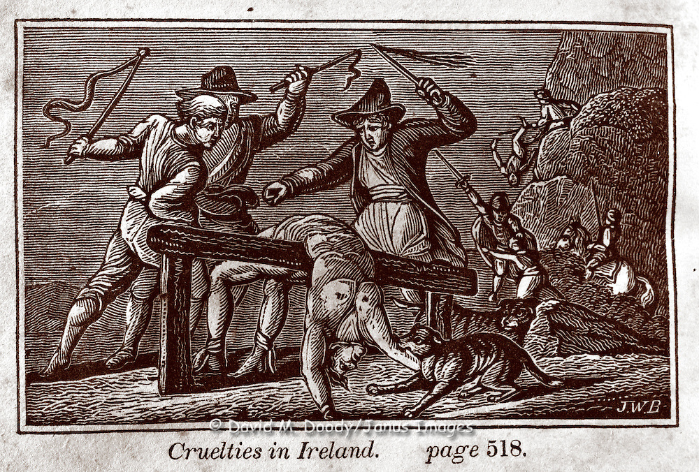 "Whipping (flogging) a prisoner. ""Cruelties in Ireland"" Vintage Woodcut Illustration from: ""Book of Martyrs; or a History of the Lives Sufferings and Triumphant Deaths of the Primitive as well as Protestant Martyrs from the Commencement Of Christianity to the Latest Periods of Pagan an Popish Persecution""  Tortures carried out in the name of religion."