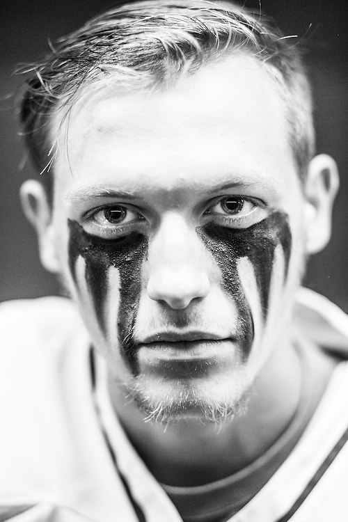 05/24/2015- Philadelphia, Penn. - Tufts defenseman Tyler Olney, E17, shows off his eye black in the locker room at Lincoln Financial Field before the NCAA Division III Men's Lacrosse National Championship Game on May 24, 2015. (Kelvin Ma/Tufts University)