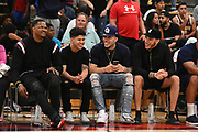 Darren Moore, Anthony Salazar, LiAngelo Ball and Lonzo Ball laugh as LaMelo Ball plays during a Drew League basketball game, Saturday, June 8, 2019, in Los Angeles.  (Dylan Stewart/Image of Sport)
