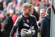 AFC Wimbledon goalkeeper George Long (1) smiling during the EFL Sky Bet League 1 match between Charlton Athletic and AFC Wimbledon at The Valley, London, England on 28 October 2017. Photo by Matthew Redman.