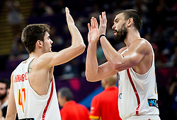 Juancho Hernangomez of Spain and Marc Gasol of Spain celebrate after winning during basketball match between National Teams of Spain and Turkey at Day 11 in Round of 16 of the FIBA EuroBasket 2017 at Sinan Erdem Dome in Istanbul, Turkey on September 10, 2017. Photo by Vid Ponikvar / Sportida