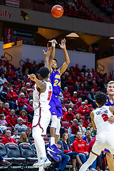 NORMAL, IL - December 31: Isaiah Brown shoots over Rey Idowu during a college basketball game between the ISU Redbirds and the University of Northern Iowa Panthers on December 31 2019 at Redbird Arena in Normal, IL. (Photo by Alan Look)
