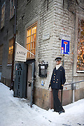 An antique and curiosity shop on a back street near the centre of Stockholm, Sweden in winter.