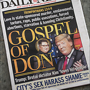 Daily News cover headlines about  President Trump latest tweets<br /> Daily News Headlines &quot;Love is state-sponsored murder, enslavement, torture, rape, public executions, fored abortions, starvatiion &amp; banding Christianityl  GOSPEL OF DON&quot;
