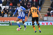 Brighton central midfielder, Rohan Ince (24) up against Hull City defender Isaac Hayden (20) during the The FA Cup match between Hull City and Brighton and Hove Albion at the KC Stadium, Kingston upon Hull, England on 9 January 2016. Photo by Ian Lyall.