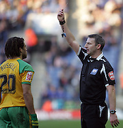 Leicester - Saturday, February 16th, 2008: Referee Clive Oliver gives Norwich City's Darel Russell the red card during the Coca Cola Championship match at the Walkers Stadium, Leicester. (Pic by Mark Chapman/Focus Images)