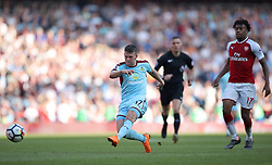 """Burnley's Johann Berg Gudmundsson in action during the Premier League match at the Emirates Stadium, London. PRESS ASSOCIATION Photo. Picture date: Sunday May 6, 2018. See PA story SOCCER Arsenal. Photo credit should read: Nick Potts/PA Wire. RESTRICTIONS: EDITORIAL USE ONLY No use with unauthorised audio, video, data, fixture lists, club/league logos or """"live"""" services. Online in-match use limited to 75 images, no video emulation. No use in betting, games or single club/league/player publications."""