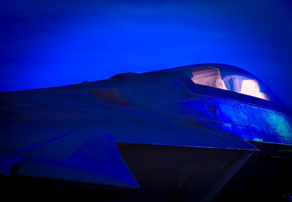 """F-22 """"Raptor"""" on the ramp at Nellis Air Force Base, near Las Vegas, Nevada.  <br /> <br /> Created by aviation photographer John Slemp of Aerographs Aviation Photography. Clients include Goodyear Aviation Tires, Phillips 66 Aviation Fuels, Smithsonian Air & Space magazine, and The Lindbergh Foundation.  Specialising in high end commercial aviation photography and the supply of aviation stock photography for advertising, corporate, and editorial use."""