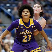 HARTFORD, CONNECTICUT- JANUARY 4:  Dominique Claytor #23 of the East Carolina Lady Pirates in action during the UConn Huskies Vs East Carolina Pirates, NCAA Women's Basketball game on January 4th, 2017 at the XL Center, Hartford, Connecticut. (Photo by Tim Clayton/Corbis via Getty Images)