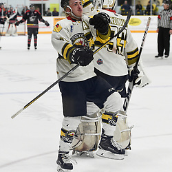 """TRENTON, ON  - MAY 5,  2017: Canadian Junior Hockey League, Central Canadian Jr. """"A"""" Championship. The Dudley Hewitt Cup. Game 7 between Georgetown Raiders and the Powassan Voodoos. Dayton Murray #20 celebrates the goal with Nate McDonald #33 of the Powassan Voodoos during the third period.<br /> (Photo by Andy Corneau / OJHL Images)"""