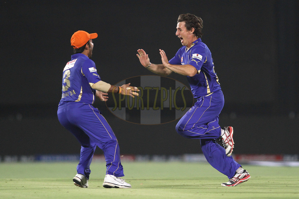 Brad Hogg of the Rajasthan Royals celebrates after getting Chris Gayle of the Royal Challengers Bangalore wicket during match 30 of the the Indian Premier League (IPL) 2012  between The Rajasthan Royals and the Royal Challengers Bangalore held at the Sawai Mansingh Stadium in Jaipur on the 23rd April 2012..Photo by Shaun Roy/IPL/SPORTZPICS