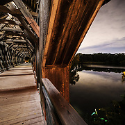 A look at the intersections of the Speed and Eramosa rivers from the wooden covered bridge, downtown Guelph Ontario. Photo by Andrew Goodwin