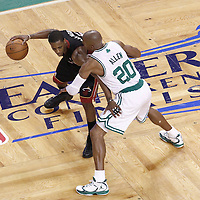 03 June 2012: Boston Celtics shooting guard Ray Allen (20) defends on Miami Heat point guard Mario Chalmers (15) during the second quarter of Game 4 of the Eastern Conference Finals playoff series, Heat at Celtics, at the TD Banknorth Garden, Boston, Massachusetts, USA.