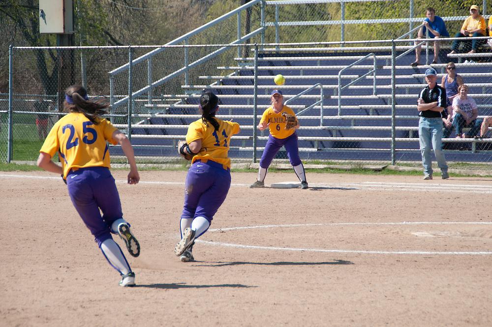 Elmira Colege softball playing some defense.
