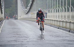 Rider make his way across clifton suspension bridge during the time trial. - Mandatory by-line: Alex James/JMP - 10/09/2016 - CYCLING - Bristol stage of the Tour of Britain