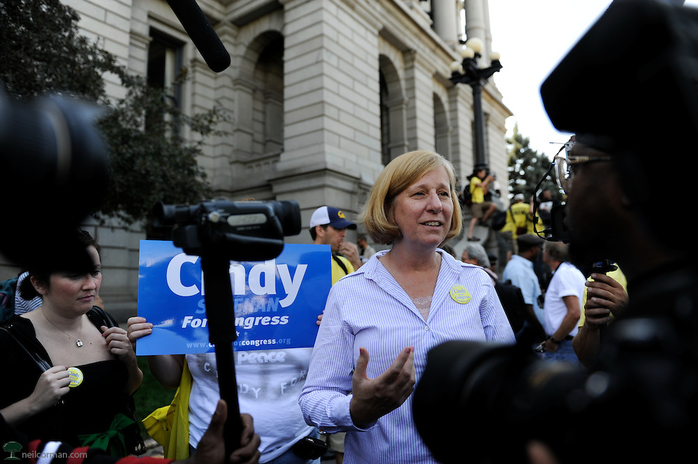 August 24, 2008 - Activist and Congressional candidate Cindy Sheehan talks to member of the media during an anti-war rally at the Colorado State Capitol prior to the Democratic National Convention.