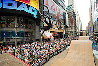 Colton Satterfield wins the Air In The Square BMX competition in Times Square.