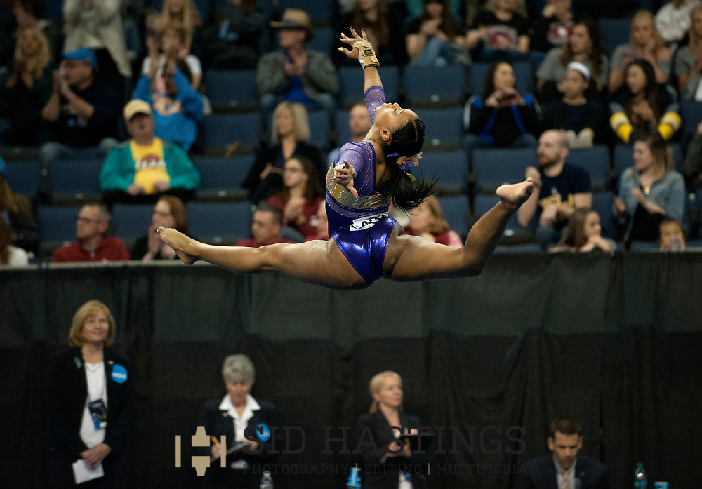 20 APRIL 2018 -- ST. LOUIS -- LSU gymnast Kennedi Edney competes in the Floor Exercise during the 2018 NCAA Women's Gymnastics Championship Semifinals in St. Louis Friday, April 20, 2018. LSU finished second in the semifinal, joining UCLA and Nebraska in advancing from the first semifinal into the Super Six championship round on Saturday.<br /> <br /> Photo &copy; copyright 2018 Sid Hastings.