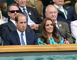 © Licensed to London News Pictures. 6th July 2014. London. UK. HRH The Duke & Duchess of Cambridge watch from the Royal Box. Prince William & Princess Kate. Crowds and celebrities watch the The Men's Final between Roger Federer, SUI v Novak Djokovic, SER at the Wimbledon Tennis Championships 2014. Photo credit :  Mike King/LNP