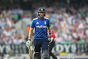 Joe Root of England is out for 6 and walks back to the pavilion during the Royal London One Day International match between England and New Zealand at the Oval, London, United Kingdom on 12 June 2015. Photo by Phil Duncan.