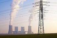 Europa, Deutschland, Nordrhein-Westfalen, das Braunkohlekraftwerk Neurath bei Grevenbroich. Mit einer Bruttoleistung von &uuml;ber 4400 Megawatt ist es das staerkste Kraftwerk Deutschlands und dient der Erzeugung von Grundlaststrom, Betreiber ist die RWE AG, die Bloecke F und G.<br /> <br /> Europe, Germany, North Rhine-Westphalia, the brown coal power station Neurath in Grevenbroich. With a gross capacity of 4,400 megawatts, it is the strongest power plant in Germany and is used to generate base-load electricity, operator is the RWE AG, the blocks F and G.