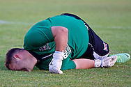 Picture by Ian Wadkins/Focus Images Ltd +44 7877 568959<br /> 25/07/2013<br /> Jonathan Hill-Dunt of Prestatyn Town lies injured during the second leg of the UEFA Europa League round two qualifying match at Belle Vue Stadium, Rhyl.