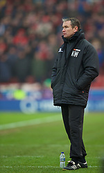 STOKE-ON-TRENT, ENGLAND - Sunday, January 4, 2015: Wrexham's manager Kevin Wilkin during the FA Cup 3rd Round match against Stoke City at the Britannia Stadium. (Pic by David Rawcliffe/Propaganda)
