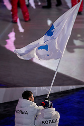 09-02-2018 KOR: Olympic Games day -1, PyeongChang<br /> Openingsceremonie Pyeongchang 2018 Olympic Winter Games / Vlaggendragers Chung Gum Hwang and Yunyong Won Korea