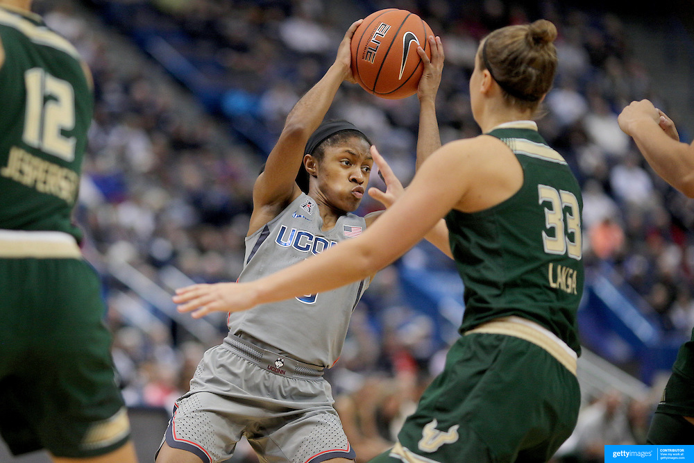 HARTFORD, CONNECTICUT- JANUARY 10: Crystal Dangerfield #5 of the Connecticut Huskies defended by Kitija Laksa #33 of the South Florida Bulls during the the UConn Huskies Vs USF Bulls, NCAA Women's Basketball game on January 10th, 2017 at the XL Center, Hartford, Connecticut. (Photo by Tim Clayton/Corbis via Getty Images)